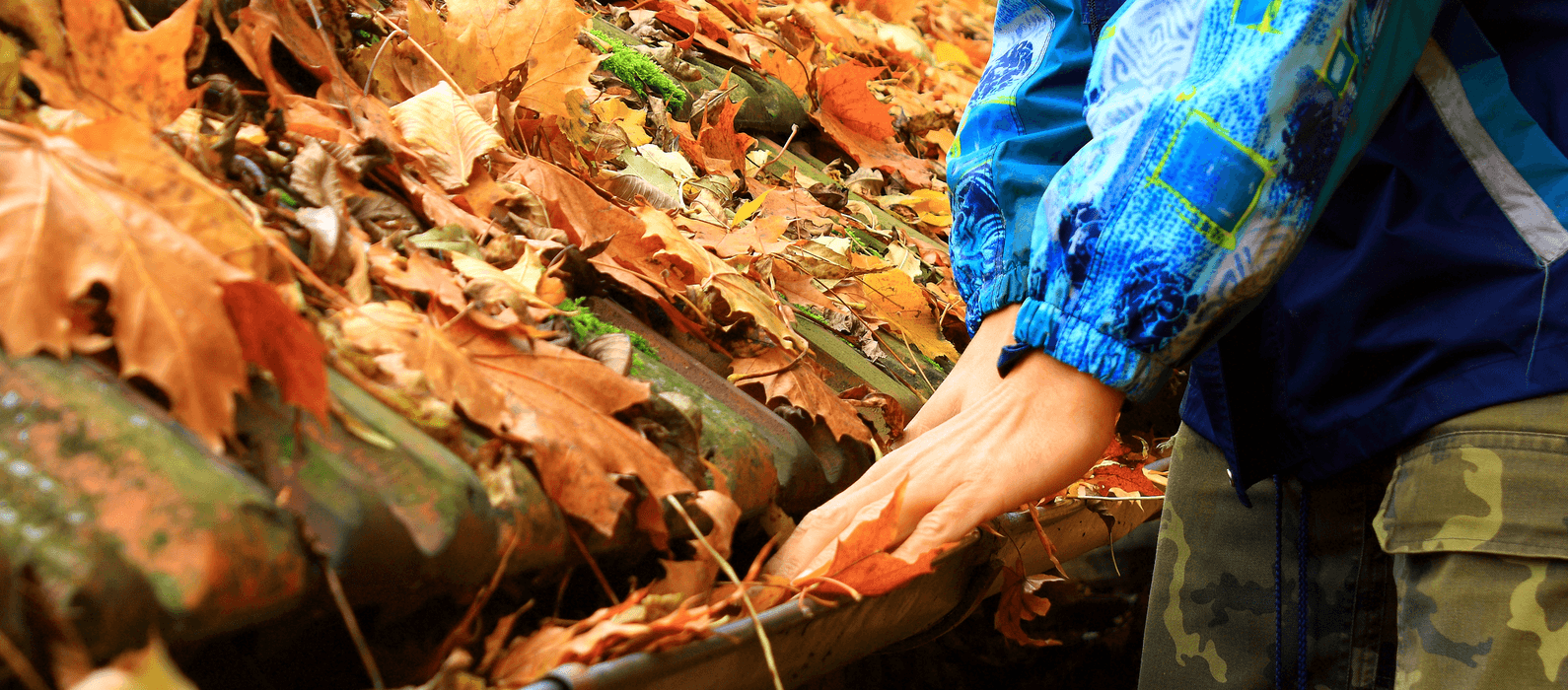 A Guide to Fall Home Maintenance - cleaning leaves from the gutter image
